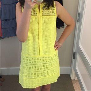 LOFT eyelet yellow shift dress size 2 BNWT